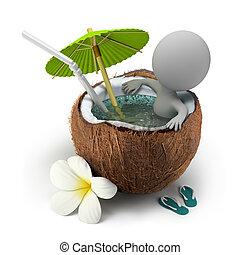 kókuszdió, tart, emberek, -, fürdőkád, kicsi, 3