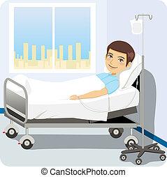 kórház ágy, ember