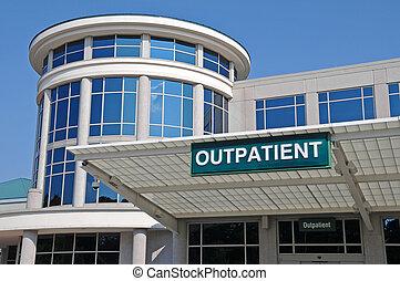 kórház, aláír, belépés, járóbeteg