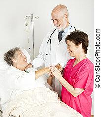 kórház, figyelmes, bot