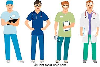 kórház, hím doktor, illeszt