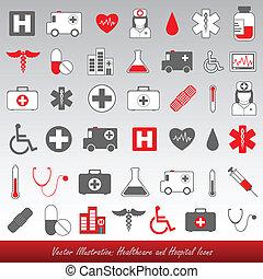 kórház, healthcare, ikonok
