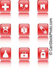 kórház, internet, coll, ikon