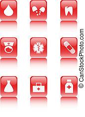 kórház, internet, gyűjtés, ikon