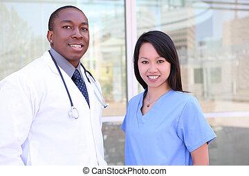 kórház, különböző, orvosi sportcsapat
