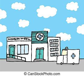 kórház, mentőautó