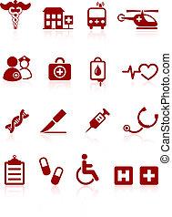 kórház, orvosi, ikon, gyűjtés, internet