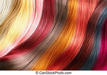 kóstol, haj, festett, befest, szín, palette.