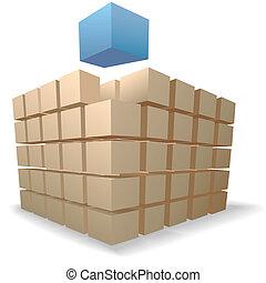 köb, elvont, rejtvény, feláll, hajózás, dobozok, emelkedik, kazalba rak