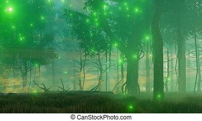 ködös, éjszaka, erdő, 4k, varázslatos