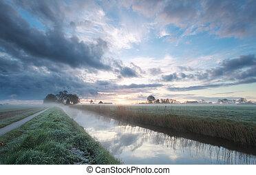 ködös, farmland, holland, napkelte, nyár