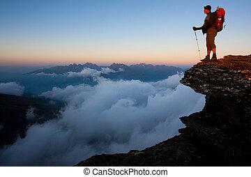 ködös, hegy, hátizsák, magas, felül, völgy, ember
