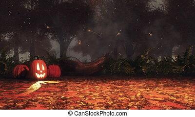 ködös, mindenszentek napjának előestéje, ősz, sütőtök, erdő, éjszaka