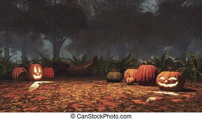 ködös, szürkület, mindenszentek napjának előestéje, ősz, sütőtök, erdő