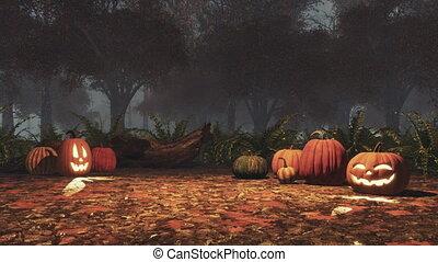 ködös, szürkület, mindenszentek napjának előestéje, sütőtök, kísértetjárta, erdő