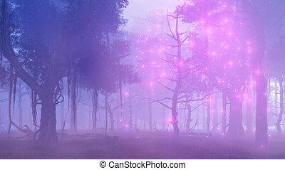 ködös, varázslatos, 4k, éjszaka, fireflies, erdő