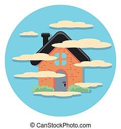 köd, épület icon, karika, lakás