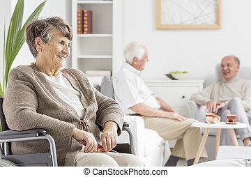 költés, idősek, idő, együtt