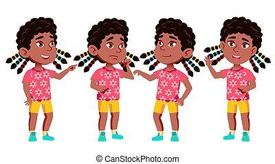 kölyök, beállít, állhatatos, leány, bemutatás, playing., american., elszigetelt, ábra, karikatúra, óvoda, aktivál, vector., meghívás, preschooler, öröm, black., afrikai származású, nyomtat, design.