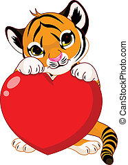 kölyök, birtok, szív, csinos, tiger