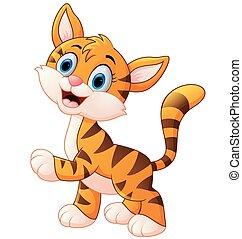 kölyök, félénk, csinos, tiger, mosolygós