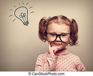 kölyök, fej, gondolkodó, gondolat, felül, gumó, szemüveg, boldog