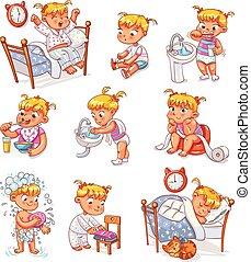 kölyök, karikatúra, napi, állhatatos, elfoglaltságok, gyakorlat