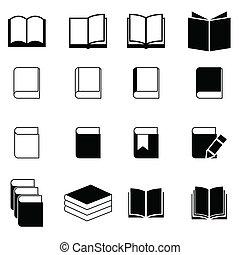 könyv, állhatatos, ikon