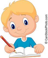 könyv, írás, boldog, fiú, karikatúra