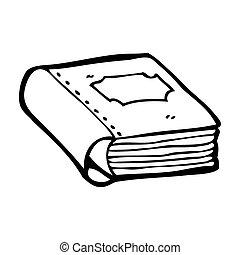 könyv, öreg, karikatúra