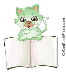 könyv, üres, birtok, macska