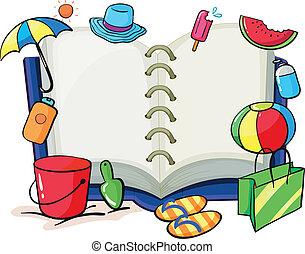 könyv, üres, közben, nyár, ruhanemű, használt