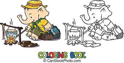 könyv, csecsemő, színezés, felderítő, elephant., tábor, kevés