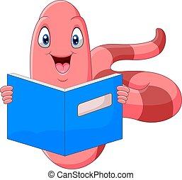 könyv, csinos, féreg, felolvasás