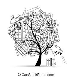 könyv, -e, fa, könyvtár, tervezés