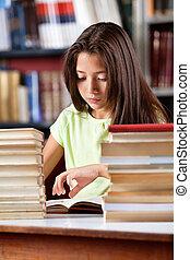 könyv, előjegyez, diáklány, asztal, felolvasás, kazal