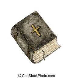 könyv, elszigetelt, tervezés, templom, fehér, vízfestmény, tanul, fogalom, cross., mód, elem, illustration., biblia, vallás, kortárs, háttér