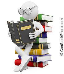 könyv, emberek., diák, felolvas, 3, fehér