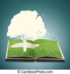 könyv, fa, dolgozat, fű, elvág