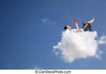 könyv, felolvasás, felhő, kipiheni magát