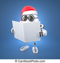 könyv, felolvasás, szent, robot