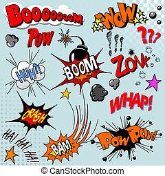 könyv, felrobbanás, komikus