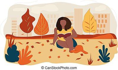 könyv, frizura, nő, afrikai származású, felolvasás