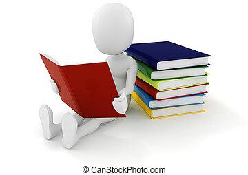 könyv, háttér, 3, ember, fehér, felolvasás