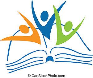 könyv, jel, diákok, számolás, nyílik