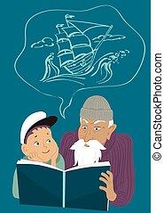 könyv, kaland, felolvasás