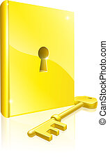 könyv, kulcs, arany, bezárt, fogalom