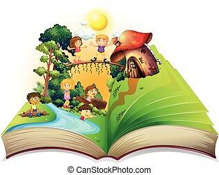 könyv, liget, játék, gyerekek