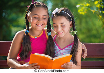 könyv, nyár, felolvasás, liget, lánytestvér