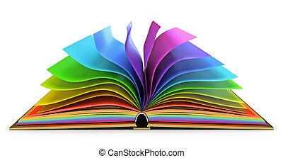 könyv, nyílik, apródok, színes